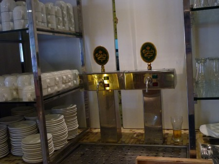 Self service. In d restaurant. Ice-cold draught