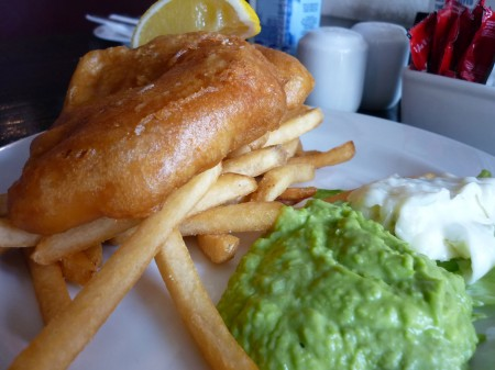 Sid's awesome fish 'n chips (Atlantic cod), and some green shit, and...