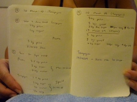 Mary Jane has a tuak logbook. With dates & measurements