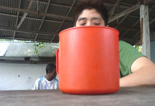 Max sticks his head into a large bucket of toddy