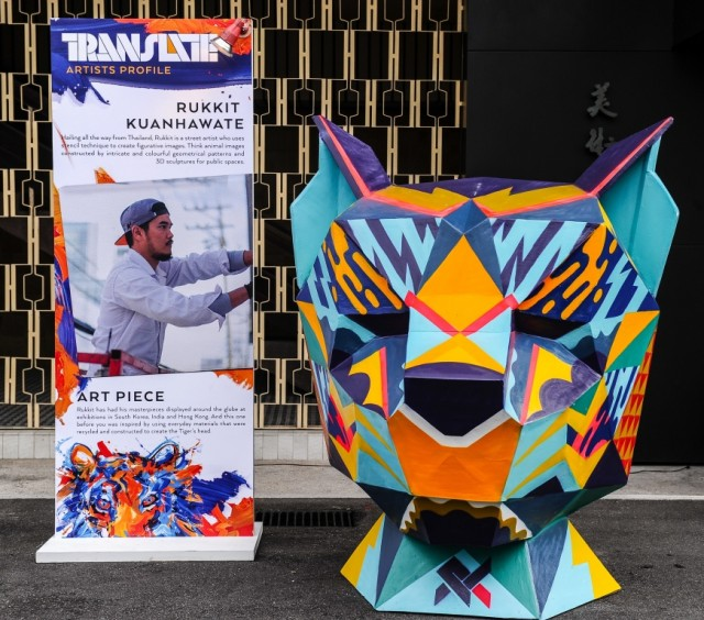 Thailand's Rukkit Kuanhawate's Tiger head artwork.