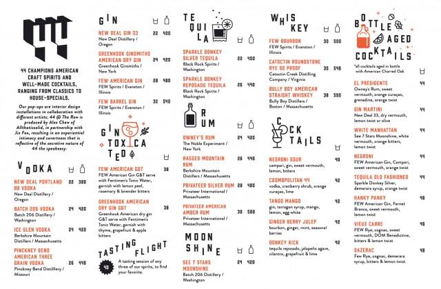 The regular menu